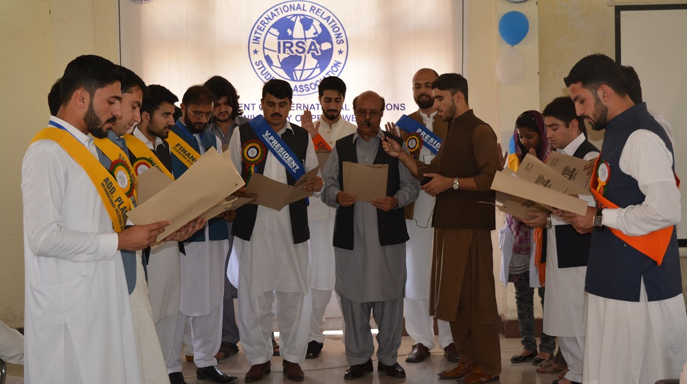 The Vice Chancellor University of Peshawar Prof. Dr. Muhammad Asif Khan is taking oath from the IRSA cabinet members at Department of International Relations on Friday, 27th April,2018
