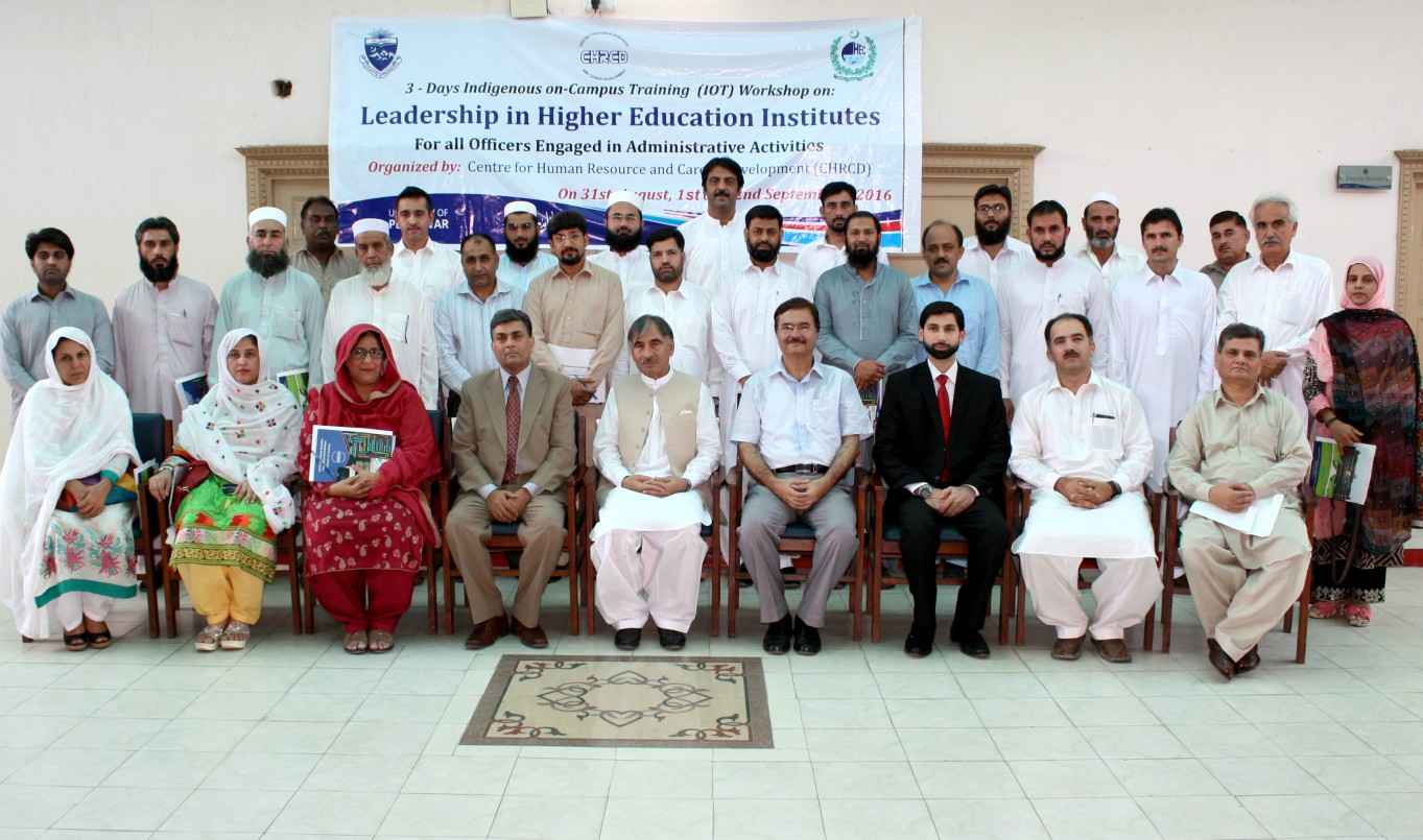 Vice Chancellor UoP Prof. Dr. Muhamamd Rasul Jan in group photo with particpants of workshop on Leadership in Higher Education Institutes at the UoP