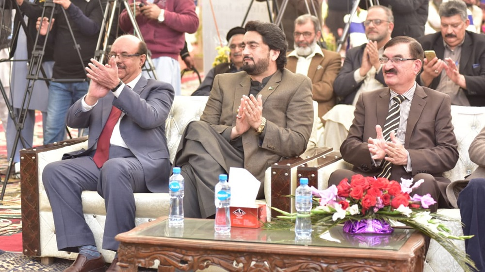 Vice Chancellor University of Peshawar along with alumnus Shehryar Afridi, minister of State for Interior  during annual 'Home Coming'  event on 15th December at University of Peshawar.