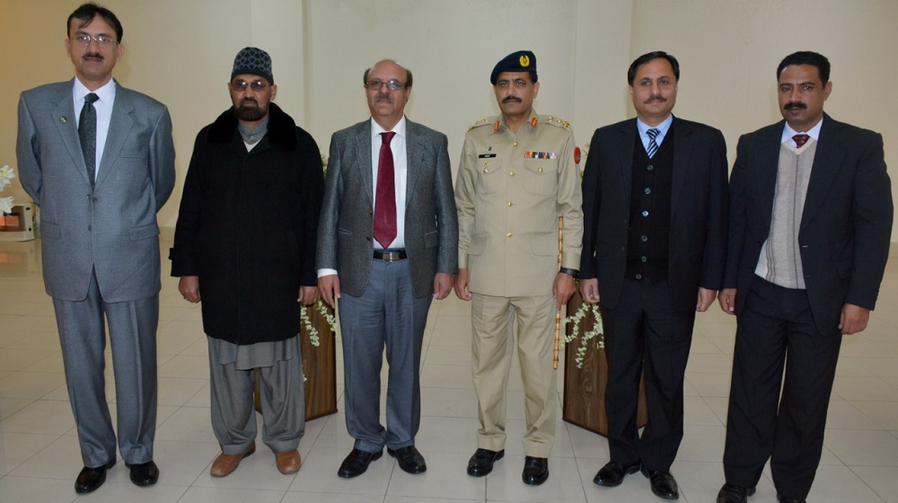 Vice Chancellor University of Peshawar Prof.Dr.Muhammad Asif Khan flanked along principal Army Burn Hall College for Girls Abbotababd at an event on 13th December, 2019.