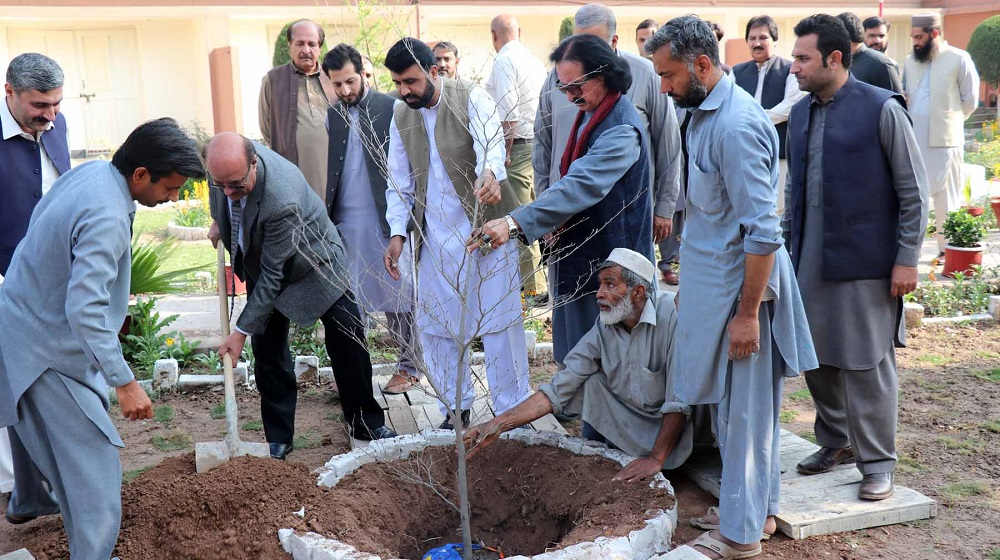 The Vice Chancellor University of Peshawar, Prof. Dr. Muhammad Asif Khan launching 13 Hostels tree plantation drive by planting the