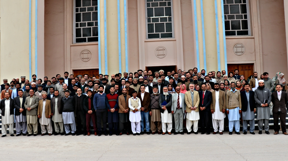 Participating Faculty of University of Peshawar is posing with VC UoP at the conclusion of one day orientation on Quality Enhancement on 14th February,2018