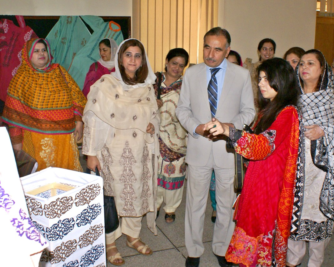 Vice Chancellor UoP Prof. Dr. Muhammad Rasul Jan Examining Textile and Fashion Designing Exhibition at the College of Home Economics University of Peshawar