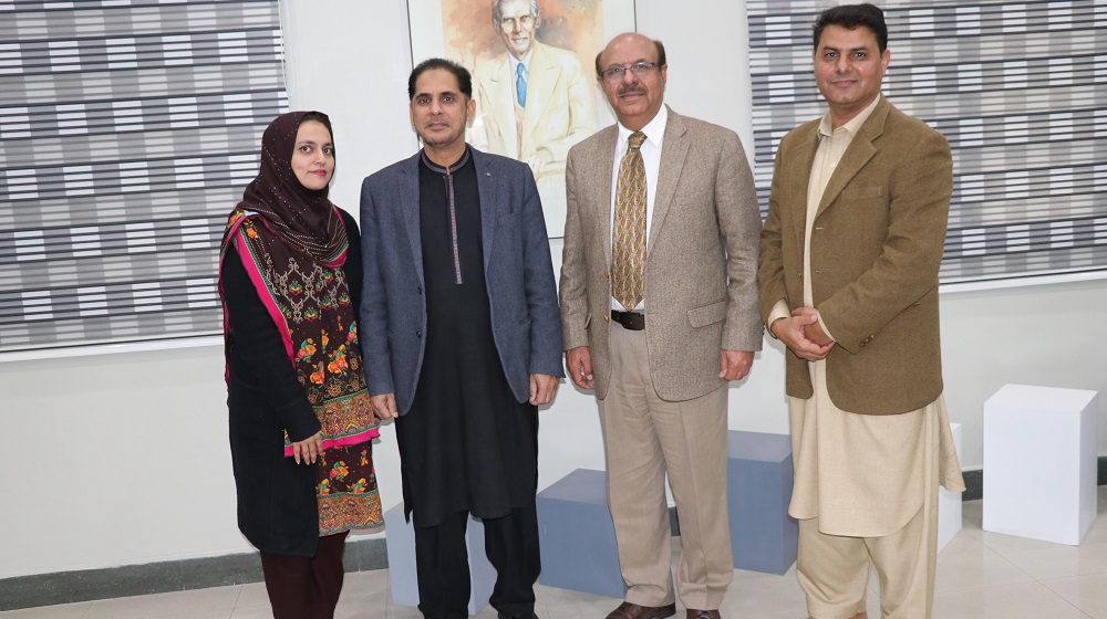 Vice Chancellor University of Peshawar Prof.Dr.Muhammad Asif Khan is standing along Dean faculty of Science Prof.Dr.Muhammad Sharif at his office on 4th February, 2020. The Professor is visiting Khyber Pakhtunkhwa at the Invitation of Pakistan Academy of Sciences for motivational talks.