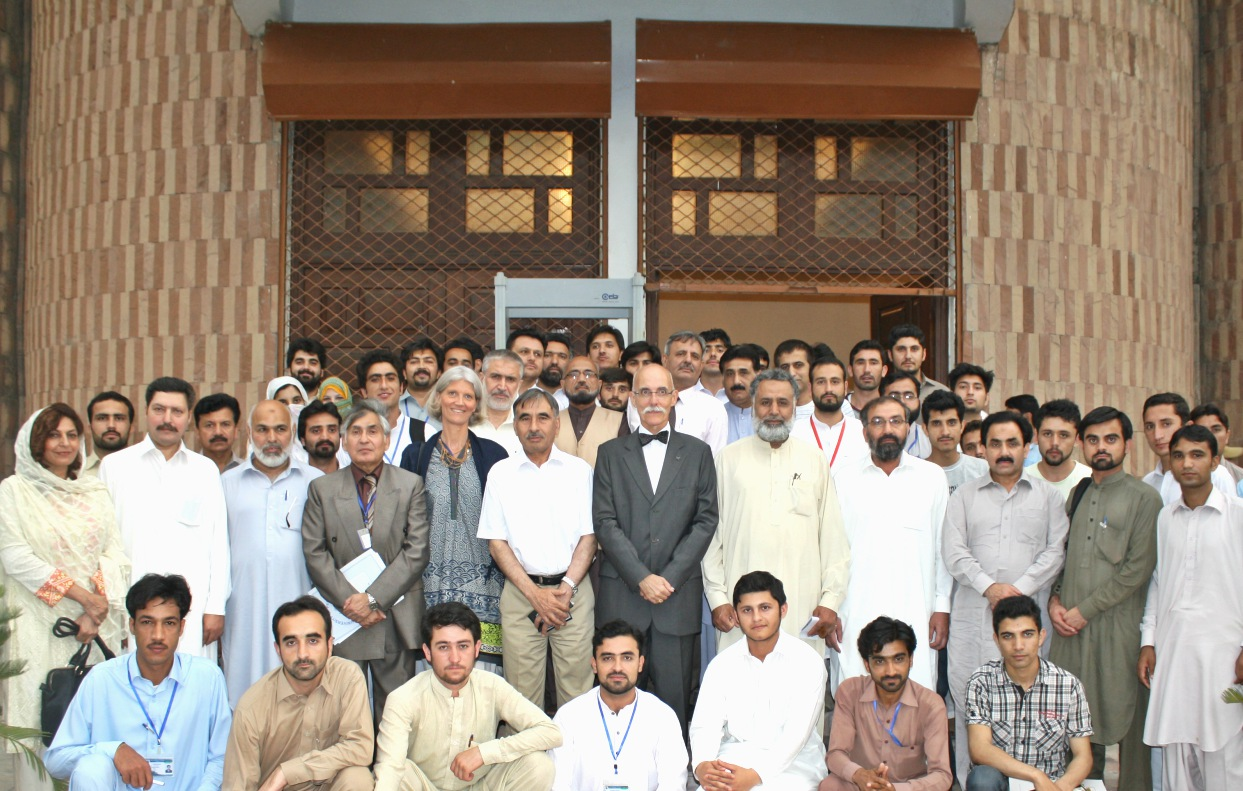 Ambassador of EU Jean Francois Cautain and VC UoP Prof. Dr. Muhammad Rasul Jan in group photo with particpants of seminar on Pak-EU relations at the University of Peshawar