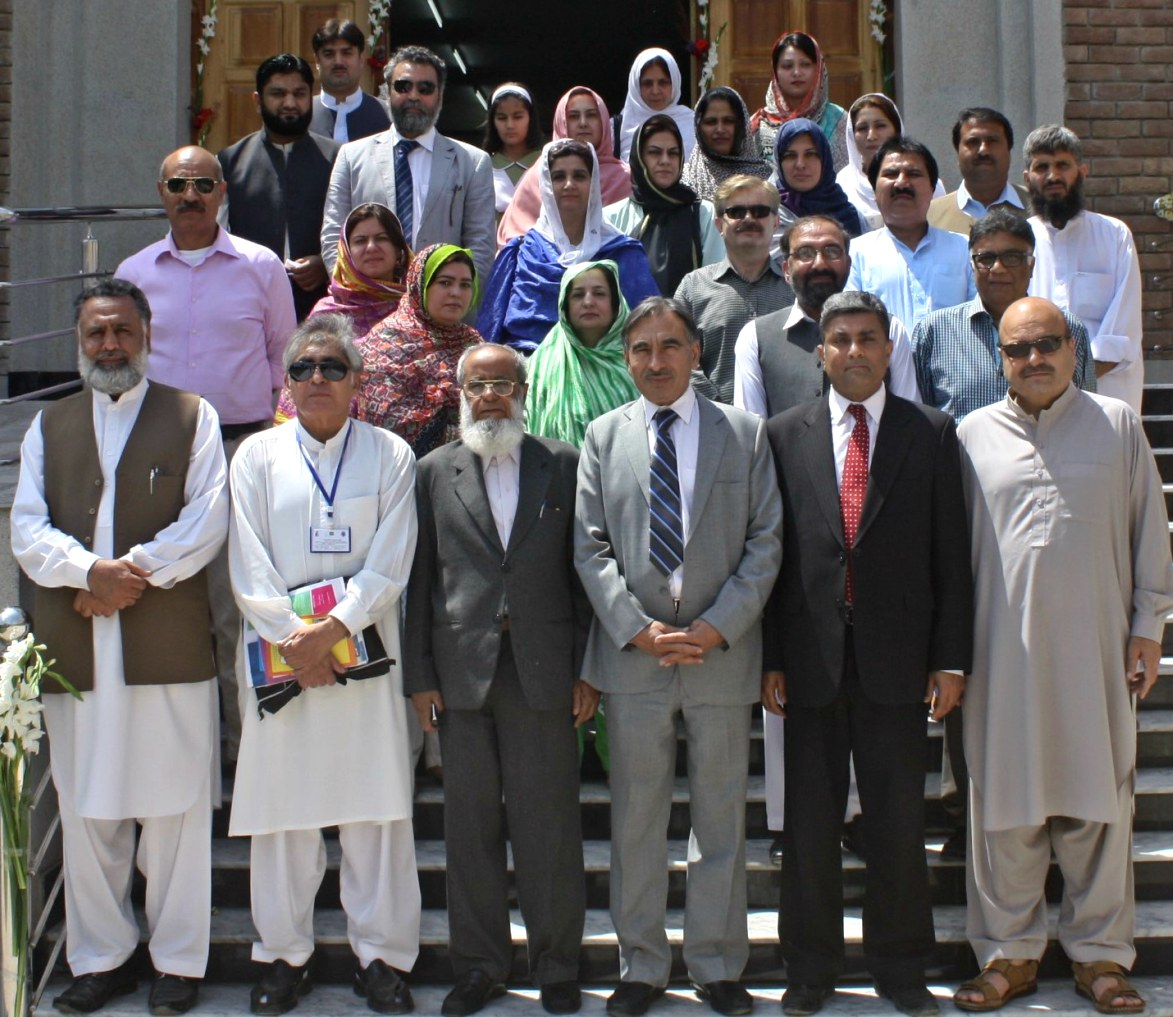 Vice Chancellor UoP Prof. Dr. Muhammad Rasul Jan in group photo with faculty and staff after inaugural ceremony of the BS Block at the Department of Psychology University of Peshawar