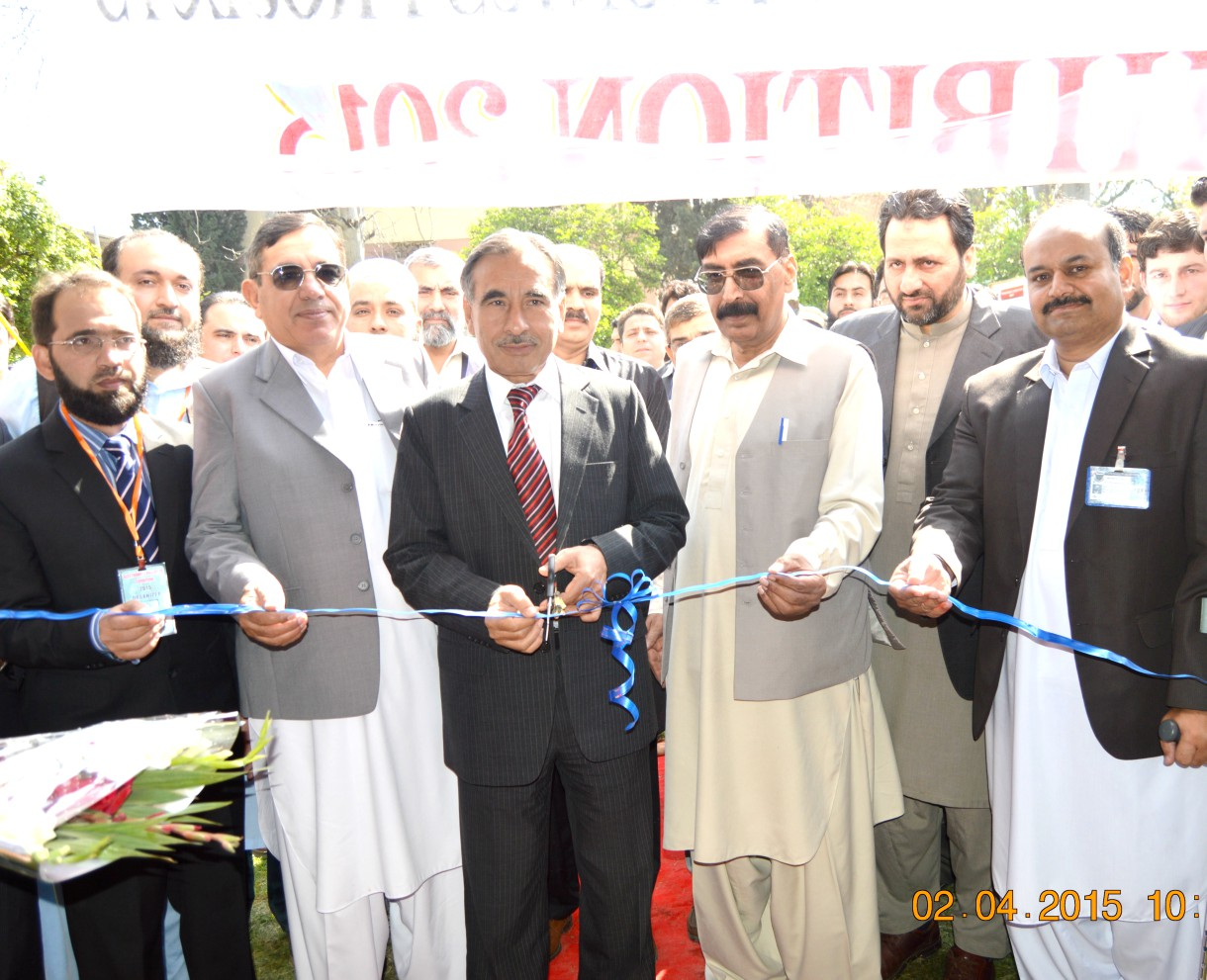 Professor Dr. Muhammad Rasul Jan, Vice Chancellor University of Peshawar, inaugurating   3rd Annual Electronics Projects Exhibition 2015