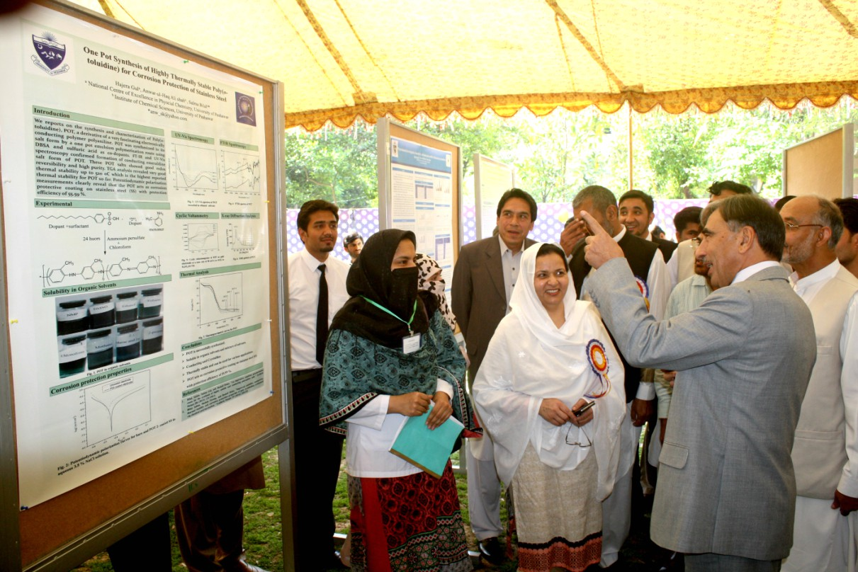 VC UoP Prof. Dr. Muhammad Rasul Jan Examinig Stalls at the 5th Research Poster Exhibition at the Institute of Chemical Sciences, UoP