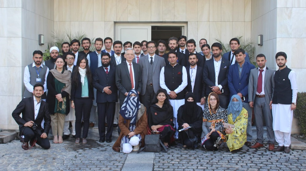 French ambassador to Pakistan his excellency Dr. Marc Barety is posing with students of University of Peshawar at French embassy Islamabad  after an extensive interaction on French-Pakistan relationships and understanding from ours own history