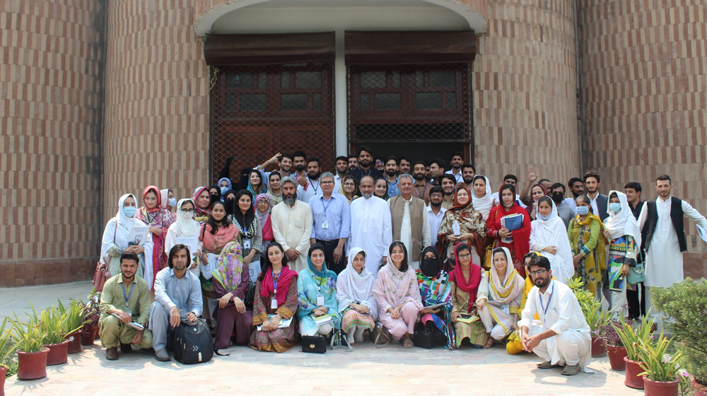 A group photo after the successful conclusion of a 7-days fellowship program on Promoting Peaceful Coexistence 2021. It was organized by the Department of Philosophy in collaboration with The Mirror of Society(A bilingual Youth Magazine) at SSAQ Hall, University of Peshawar (12-18 July 2021).