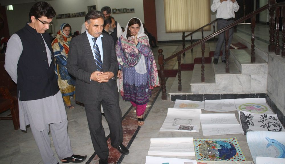 Vice Chancellor UoP Prof. Dr. Muhammad Rasul Jan visiting display of marble ,mosaic exhibition at the University of Peshawar