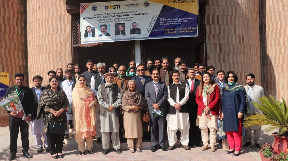 Vice Chancellor UoP, Prof. Dr. Muhammad Idrees in a group photo with the participants of 1st National Virtual Conference on Social Work and Social Welfare in Pakistan.