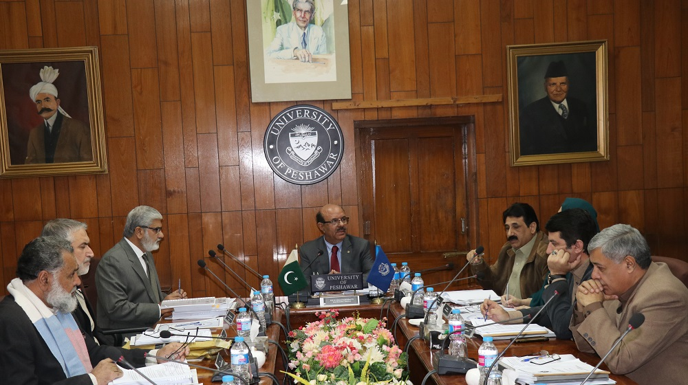 Vice Chancellor University of Peshawar is chairing the Syndicate meeting held on 12th December, 2017