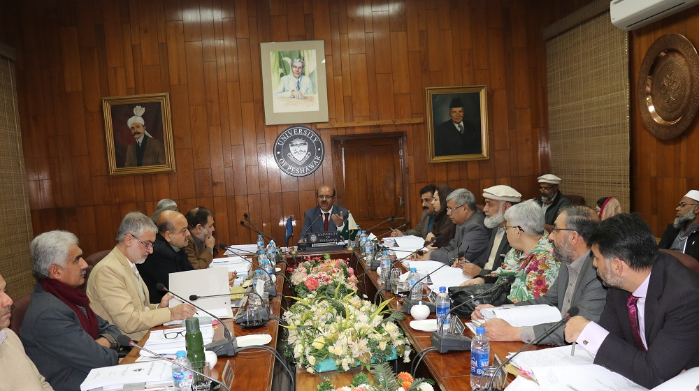 The Vice Chancellor University of Peshawar Prof.Dr.Muhammad Asif Khan is presiding over the meeting of 428th Syndicate at Committee room I on 05th February,2019 to discuss and decide academic, administrative and policy matters at the august body.