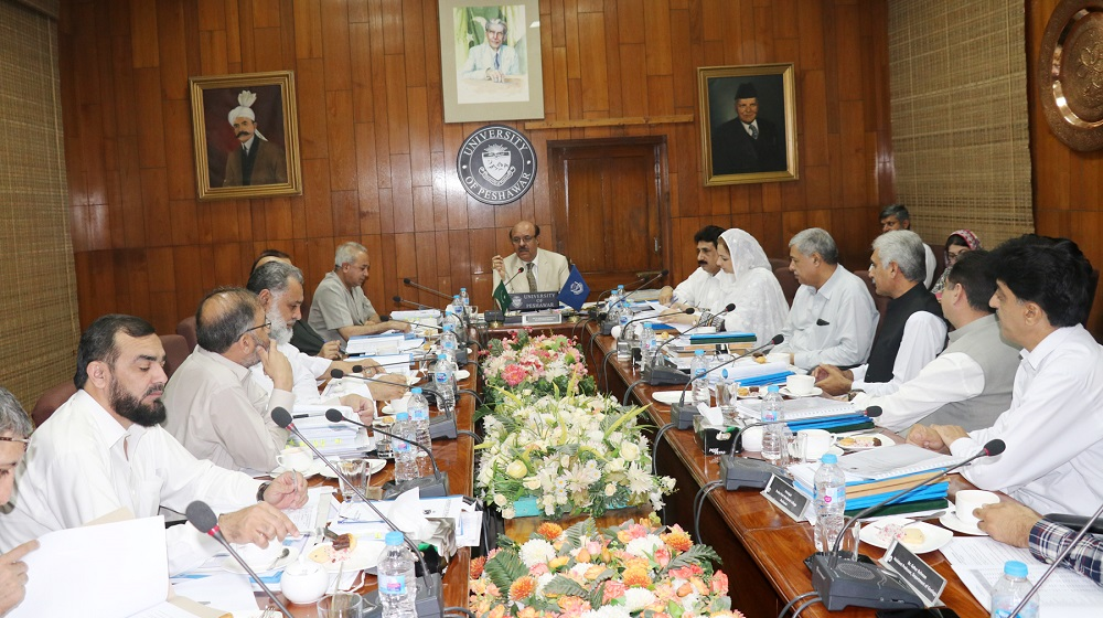 The Vice Chancellor University of Peshawar Prof. Dr. Muhammad Asif Khan is presiding over the meeting of Syndicate along with its constituent members to review the annual budget and annual plan for the year 2018-19 on Thursday 05 July