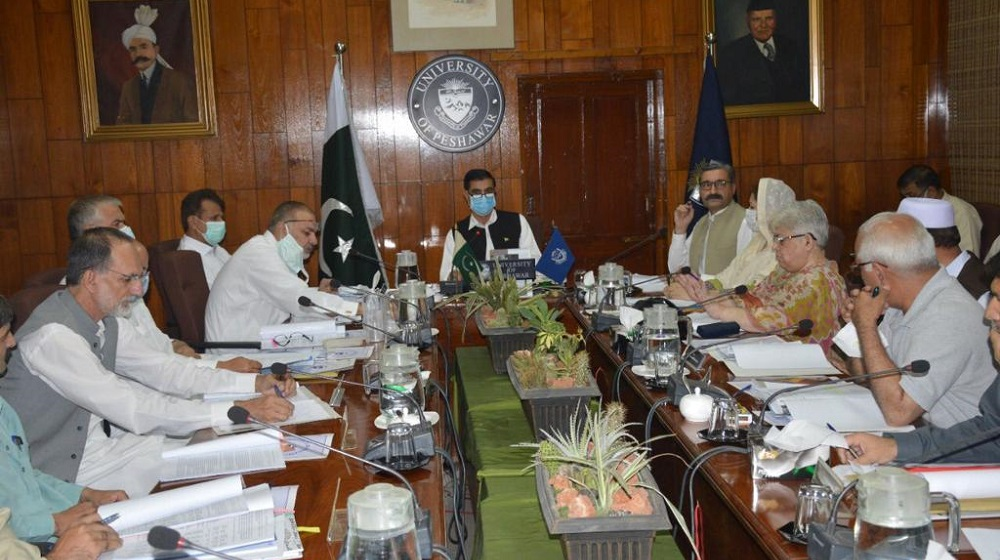Vice Chancellor Prof. Dr. Muhammad Idrees presides over a meeting of Syndicate at Committee Room