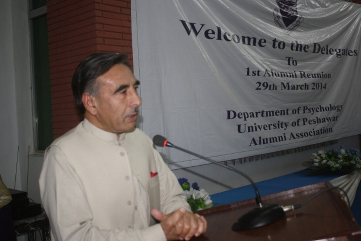 Vice Chancellor University of Peshawar Prof. Dr. Rasul Jan delivering a speech to the audience