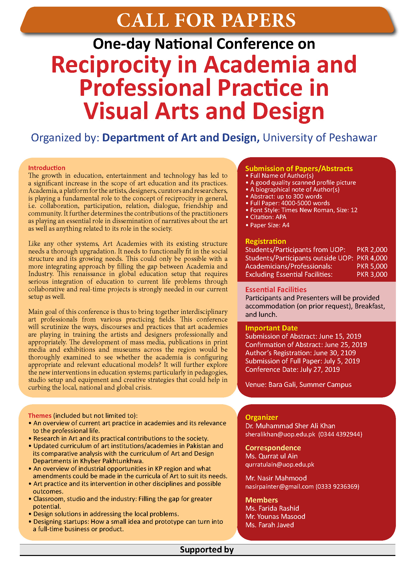 Call for Paper: One-day National Conference on Reciprocity in  Academia and Professional Practice in Visual Arts and Design