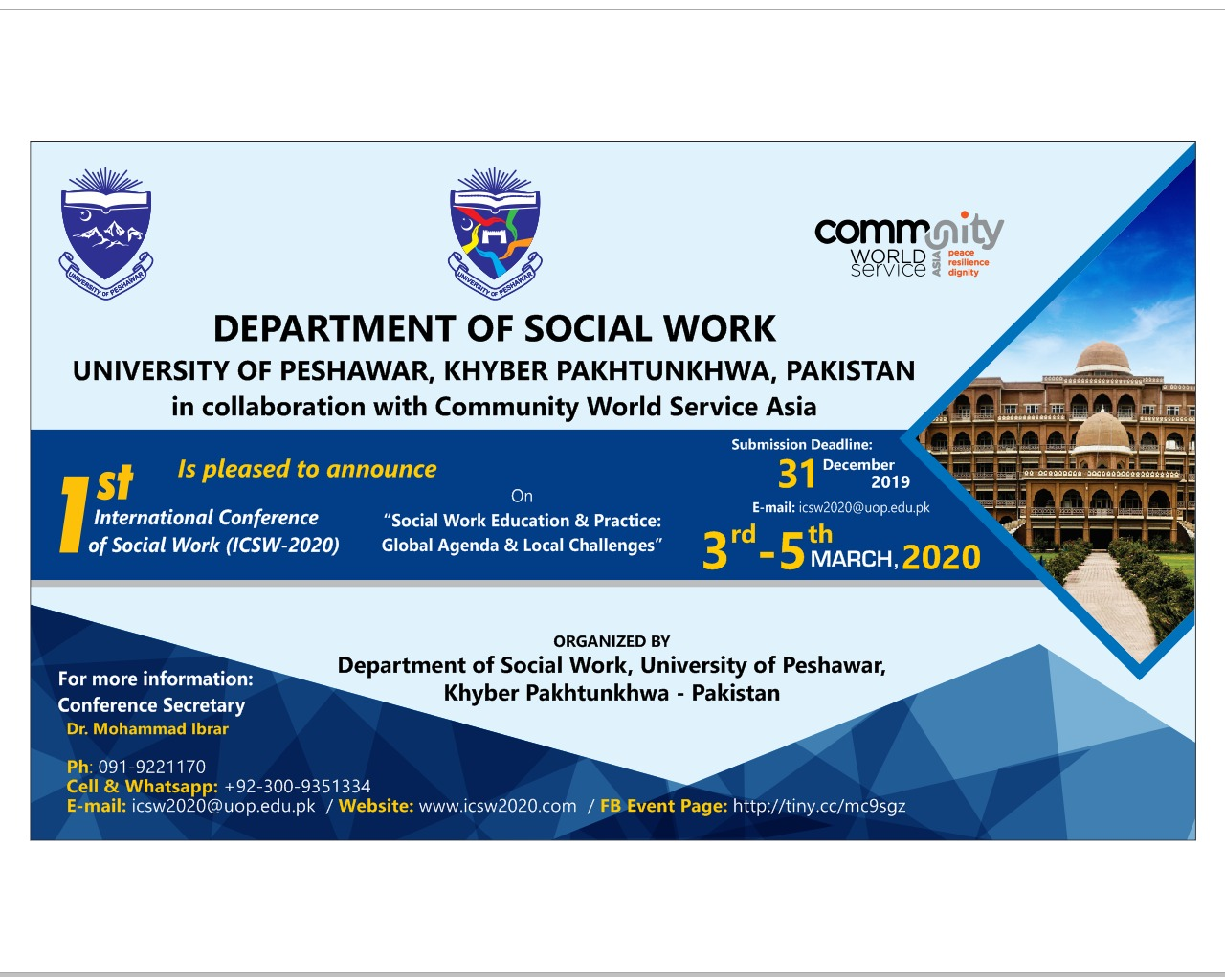 1st International Conference of Social Work (ICSW-2020) On
