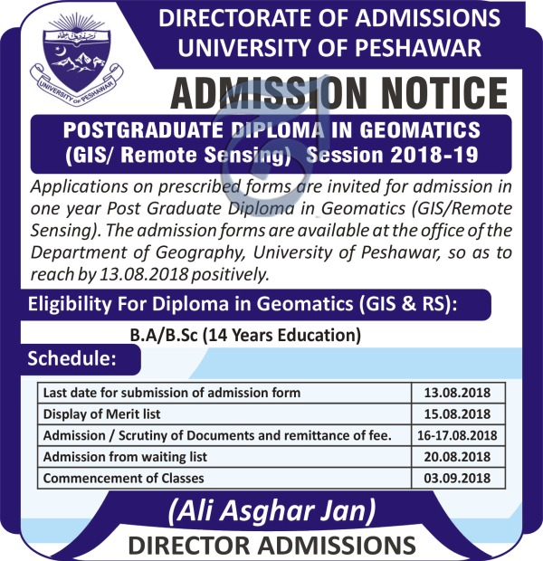 Admission Notice: Postgraduate Diploma in Geomatics (GIS and Remote Sensing) for the Session 2018-19